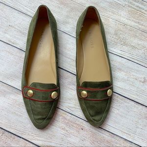 TALBOTS   olive suede loafers 7.5